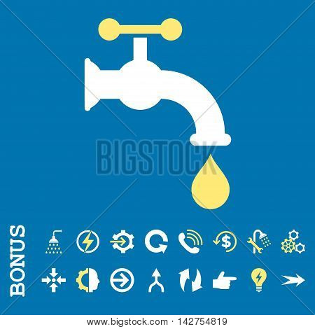 Water Tap vector bicolor icon. Image style is a flat iconic symbol, yellow and white colors, blue background.