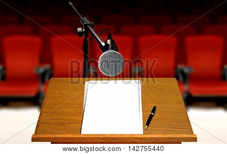 seminar preparation with microphone and podium and red seats