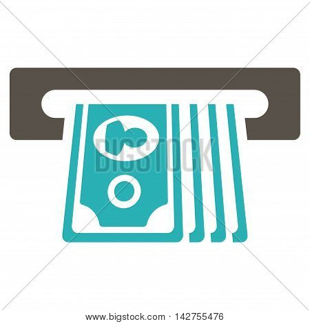 ATM Insert Cash icon. Vector style is bicolor flat iconic symbol with rounded angles, grey and cyan colors, white background.
