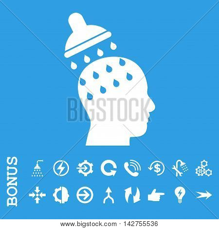 Brain Washing vector icon. Image style is a flat iconic symbol, white color, blue background.