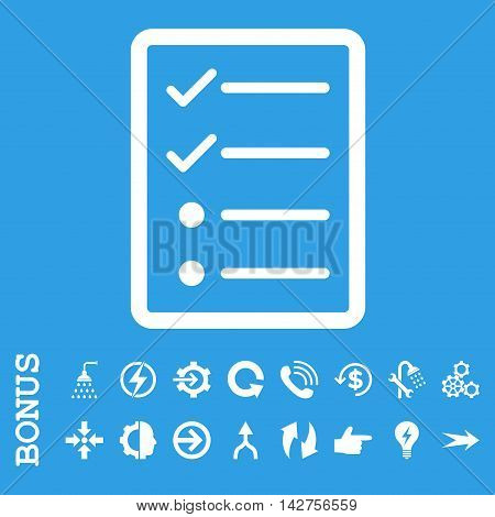 Checklist Page vector icon. Image style is a flat iconic symbol, white color, blue background.