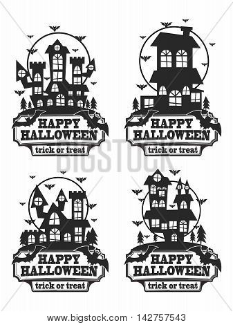 Vector Halloween Haunted Maison Silhouette Monochrome Stamp Illustration, isolated on white background