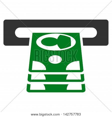 Cashpoint icon. Vector style is bicolor flat iconic symbol with rounded angles, green and gray colors, white background.