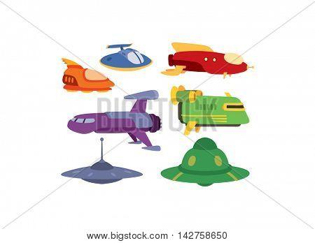 UFO spaceship vector set.