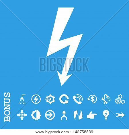 High Voltage vector icon. Image style is a flat iconic symbol, white color, blue background.