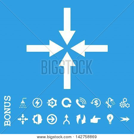 Impact Arrows vector icon. Image style is a flat iconic symbol, white color, blue background.