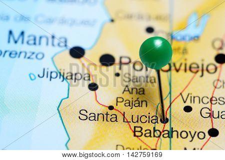 Santa Lucia pinned on a map of Ecuador