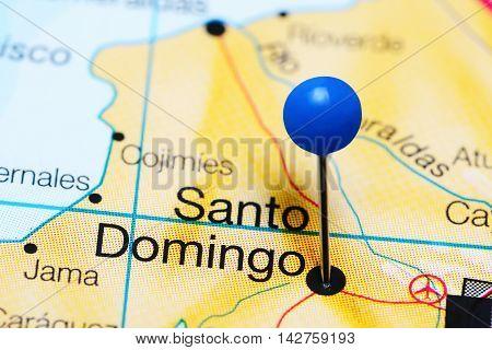 Santo Domingo pinned on a map of Ecuador