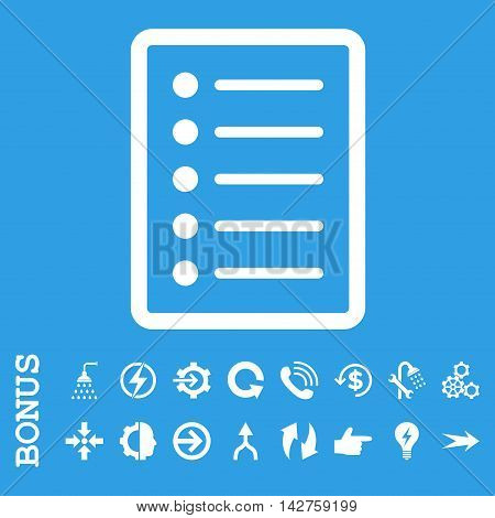 List Page vector icon. Image style is a flat pictogram symbol, white color, blue background.