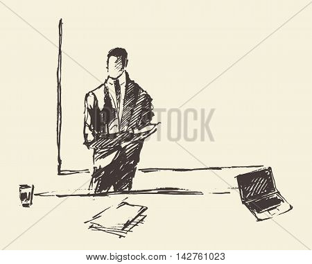 Businessman presenting copyspace. Concept vector illustration, sketch