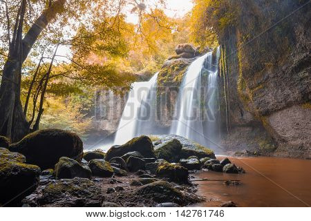 Amazing beautiful waterfalls in autumn deep forest at Haew Suwat Waterfall in Khao Yai National Park Thailand