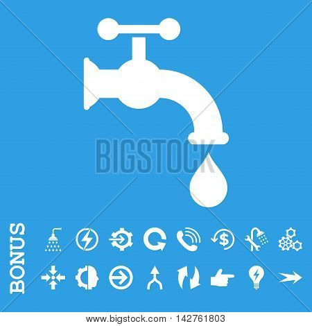 Water Tap vector icon. Image style is a flat iconic symbol, white color, blue background.