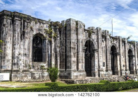 CARTAGO, COSTA RICA - July 31: Front view of Santiago Apostol cathedral ruins in Cartago Downtown. July 31, 2016 in Cartago.