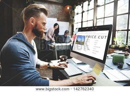 Price Cut Shopping Online Internet Website Concept