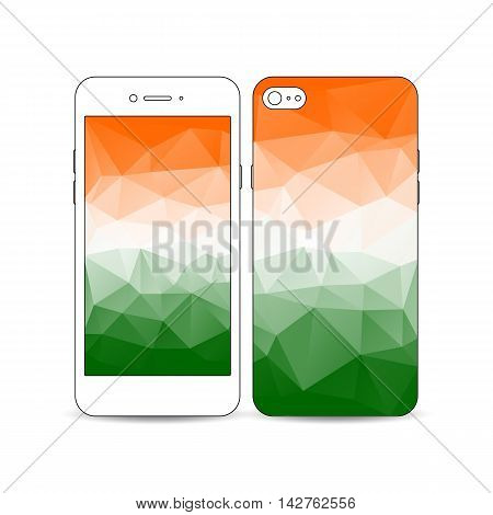 Mobile smartphone with an example of the screen and cover design isolated on white background. Background for Happy Indian Independence Day celebration with national flag colors, vector illustration.