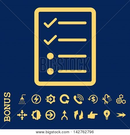 Checklist Page vector icon. Image style is a flat pictogram symbol, yellow color, blue background.