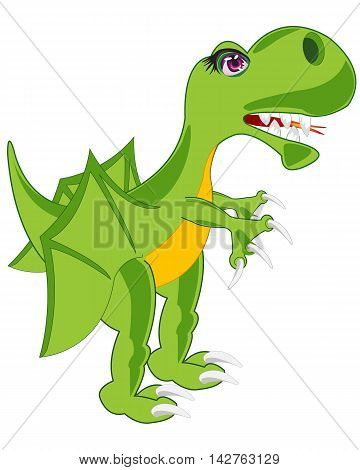 Prehistorical reptile dinosaur on white background is insulated