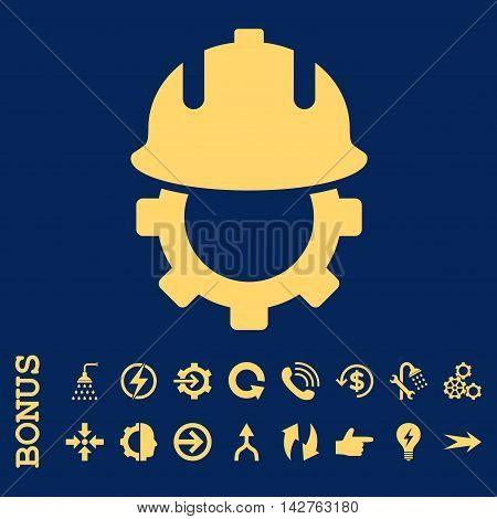 Development Helmet vector icon. Image style is a flat iconic symbol, yellow color, blue background.