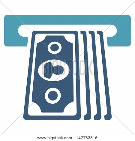 Cashpoint Terminal icon. Vector style is bicolor flat iconic symbol with rounded angles, cyan and blue colors, white background.