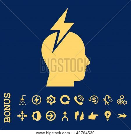 Headache vector icon. Image style is a flat pictogram symbol, yellow color, blue background.