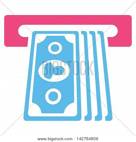 Cashpoint Terminal icon. Vector style is bicolor flat iconic symbol with rounded angles, pink and blue colors, white background.
