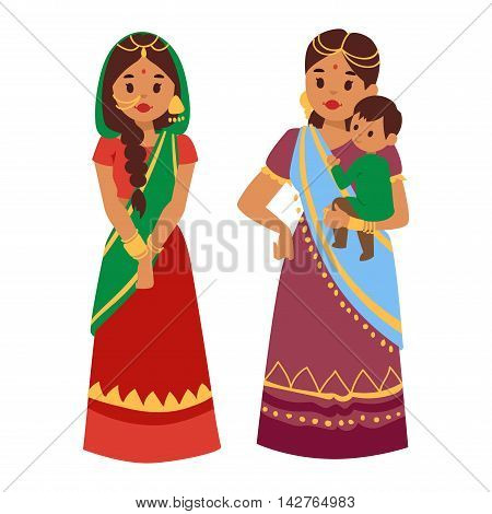Vector illustration of Indian culture woman people standing figure. Indian female people happy person. Ethnicity cheerful casual Indian people, traditional young and old woman, girl characters