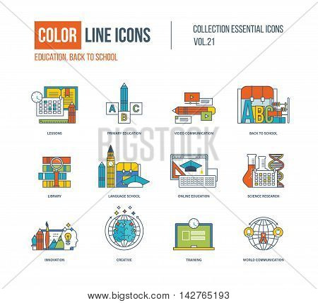 Color thin Line icons set. Lessons, primary education, video communication, back to school, library, language school, science research, innovation, creative, training Colorful logo and pictograms