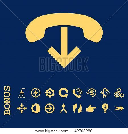 Phone Hang Up vector icon. Image style is a flat iconic symbol, yellow color, blue background.