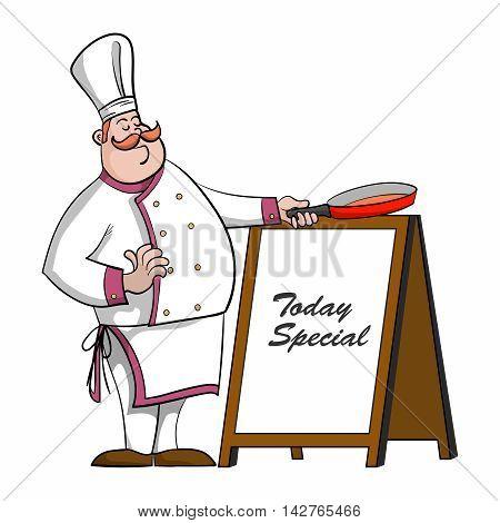 Vector Cartoon Chef with saucepan illustration, introducing today specials menu
