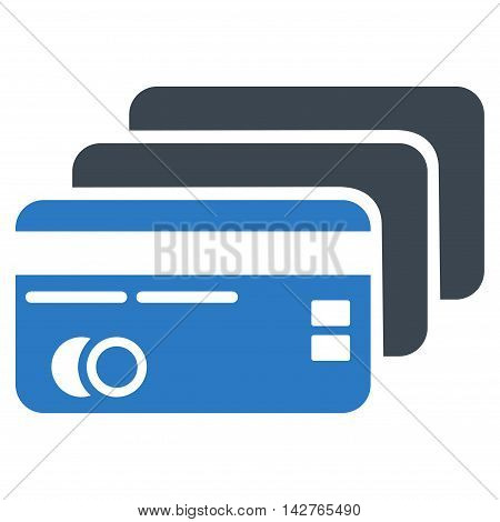 Banking Cards icon. Vector style is bicolor flat iconic symbol with rounded angles, smooth blue colors, white background.