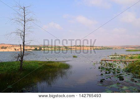 Fresh Lake At White Sand Dunes In Mui Ne, Phan Thiet, Vietnam