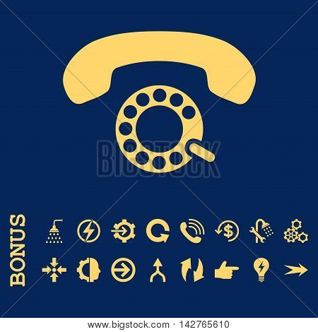 Pulse Dialing vector icon. Image style is a flat pictogram symbol, yellow color, blue background.