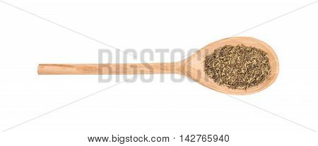 Provence herbs in a wooden spoon on a white background