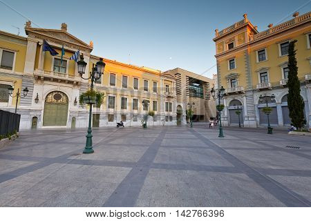 ATHENS, GREECE - AUGUST 14, 2016: National Bank of Greece in Kotzia square, Athens on August 14, 2016.