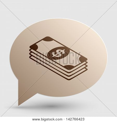 Bank Note dollar sign. Brown gradient icon on bubble with shadow.