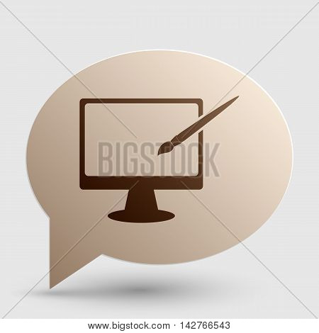 Monitor with brush sign. Brown gradient icon on bubble with shadow.