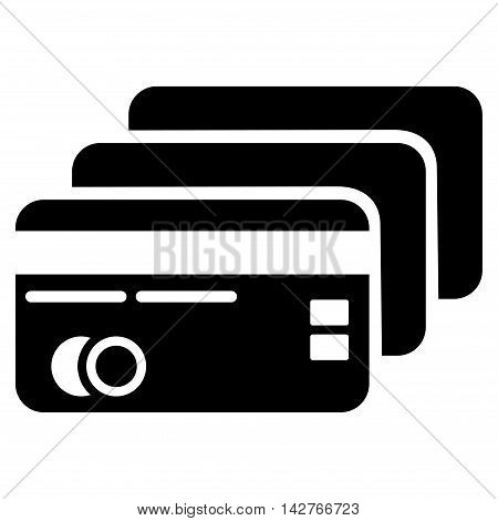Banking Cards icon. Vector style is flat iconic symbol with rounded angles, black color, white background.