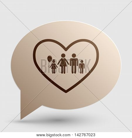Family sign illustration in heart shape. Brown gradient icon on bubble with shadow.