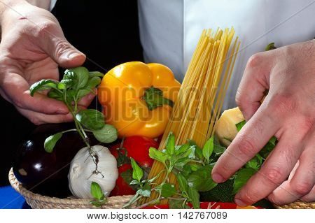 Set Of Products And Spaghetti