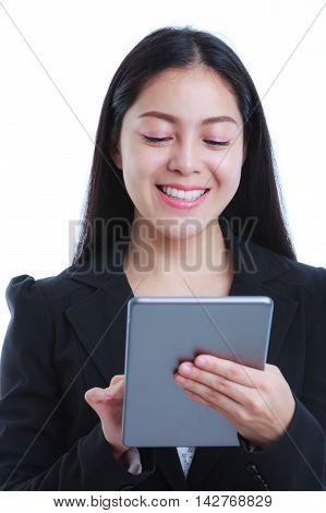 Asian Woman Holding Tablet Computer, On White Background, Working On Touching Screen.