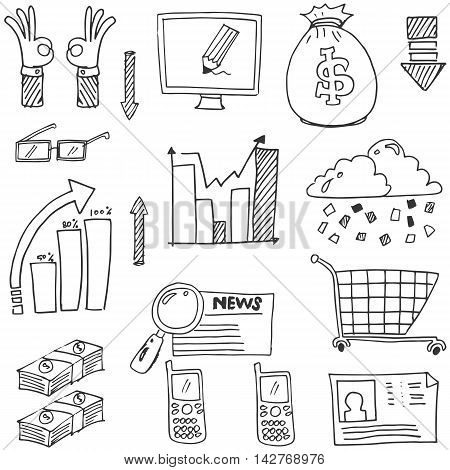 Doodle of business set had draw stock collection