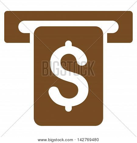 Cash Withdraw icon. Vector style is flat iconic symbol with rounded angles, brown color, white background.