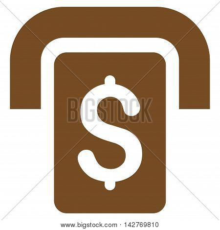 Cashpoint icon. Vector style is flat iconic symbol with rounded angles, brown color, white background.