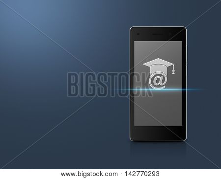 E-learning icon on modern smart phone screen over light blue background Study online concept