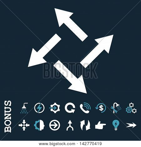 Centrifugal Arrows vector bicolor icon. Image style is a flat pictogram symbol, blue and white colors, dark blue background.