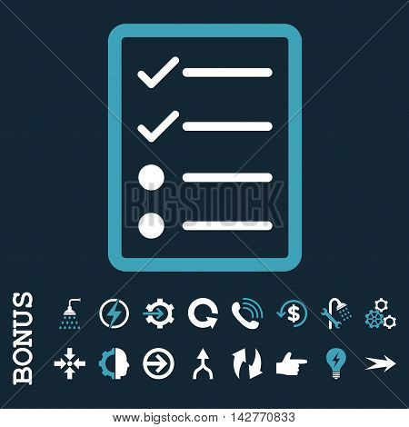 Checklist Page vector bicolor icon. Image style is a flat pictogram symbol, blue and white colors, dark blue background.