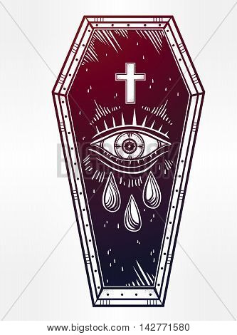 Decorative coffin in flash tattoo style with cross. Vector illustration isolated. Pop art design, adult coloring book page, spooky mystic magic symbol for your use. Vintage and 1990's inspired art.