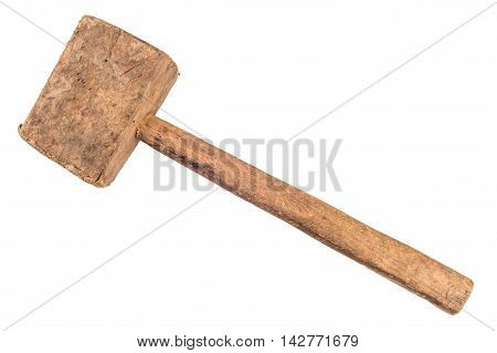 Old wooden mallet. Hand tool top view.