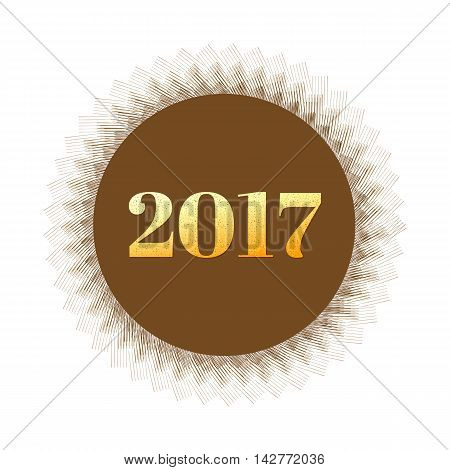 Vector,2017 Golden New Year Number On Abstract Line Hatching Circle,holiday Concept