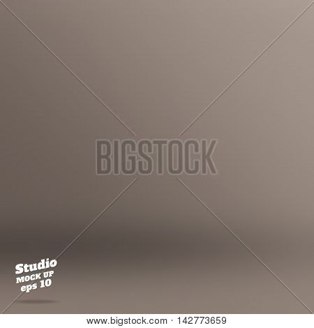 Vector ,empty Rich Color Style Of Copper Brown Studio Room Background ,template Mock Up For Display